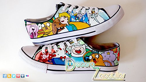 - Adventure Time custom canvas shoes handpainted, low tops shoes,Christmas gift