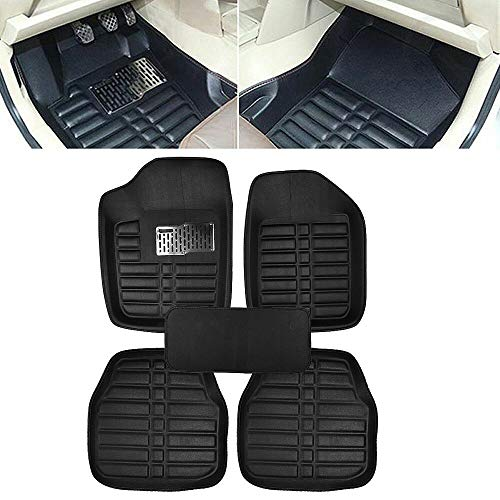 (DSA Trade Shop 5pc Universal Car Floor Mats Front&Rear FloorLiner All-Weather Waterproof Carpet)
