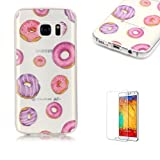 Galaxy S7 TPU Case with Free Screen Protector,Funyye See Through Transparent Soft Rubber Silicone Gel TPU Bumper Ultra Thin Colourful Print Design Protective Case - Donuts