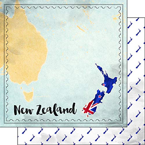 Scrapbook Customs 39288 New Zealand Map Sights 12 Inch x 12 Inch Double-Sided Scrapbook Paper - 1 Sheet