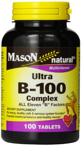 Mason Natural, Ultra B-100 Complex Vitamin Tablets, 100-Count Bottle, Dietary Supplement Supports Energy Production, Nervous System, and Cognitive Function Including Memory