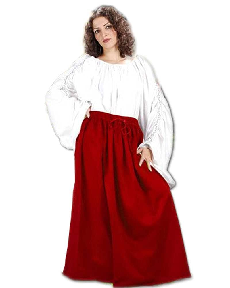 Women's Classic Renaissance Medieval Red Cotton Wench Skirt by ThePirateDressing - DeluxeAdultCostumes.com