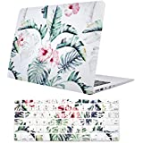 "Macbook Air 13 Inch Case, TeenGrow Plastic Hard Protective Smooth Macbook Shell Case with Keyboard Cover for Macbook Air 13"" (Model: A1369/A1466), Banana Leaf"