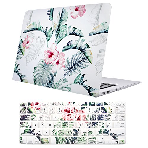 MacBook Air 13 Inch Case(A1369 & A1466, Older Version 2010-2017 Release), TeenGrow Plastic Hard Protective Laptop Case Shell with Keyboard Cover Only Compatible MacBook Air 13 Inch, Banana Leaf