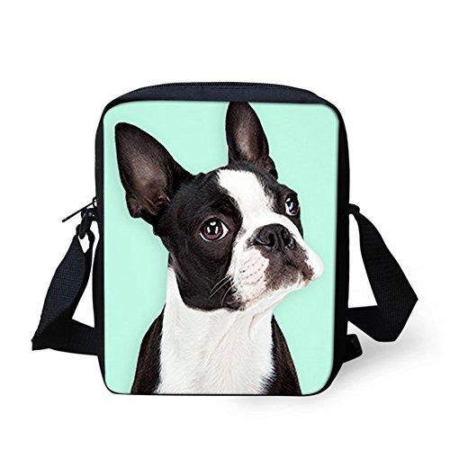Sannovo Boston Terrier Breed Standard Waterproof School Bag Girl Boy Animal Messenger Satchel Mini Coin Purse (Messenger Bag Boston)