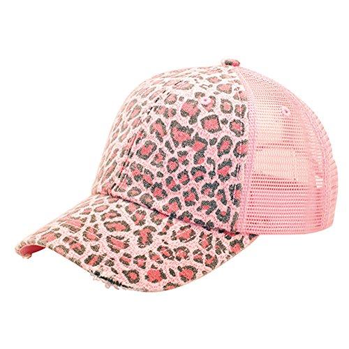 (MG Women's Print Mesh Canvas Trucker Baseball Cap Hat (Pink Leopard))
