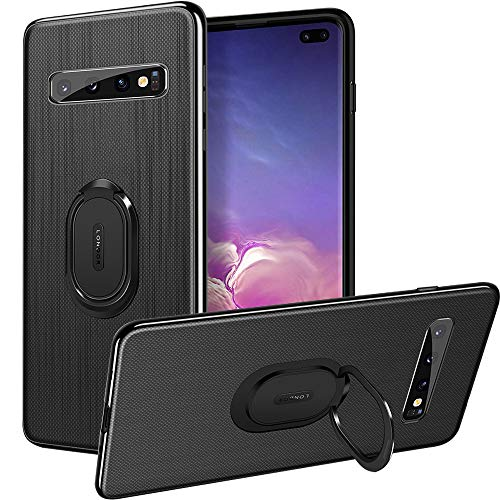 Galaxy S10 Case,Slim Fit Premium PU Leather Back Shock-Absorbing TPU Frame Case with Finger Ring Grip Holder Stand [Compatible Magnetic Car Mount&Wireless Charger] for Galaxy S10 6.1