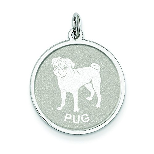 Sterling Silver Pug Disc Charm (Sterling Pug Silver)