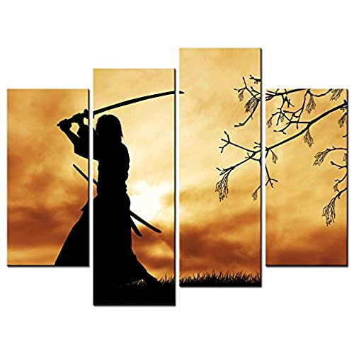 SmartWallArt   Figure Paintings Wall Art Bushido Spirit Illustration  Japanese Warriors Samurai 4 Panel Picture Print On Canvas For Modern Home  Decoration