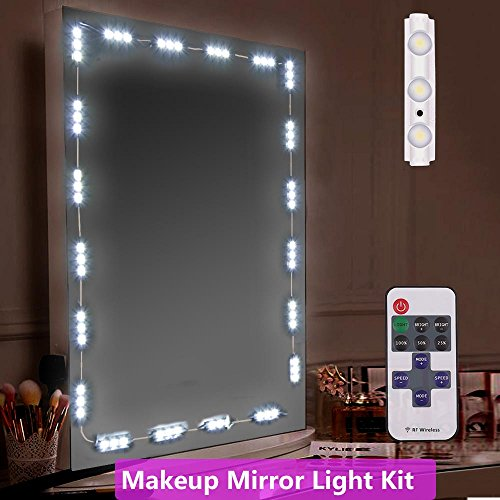 Makeup Mirror Light, iMazer Bathroom Vanity Light Kit,Vanity Mirror Light Kit for DIY Cosmetic Hollywood Make Up Mirror with Remote and Dimmer Switch 10FT 60LED 10' Natural Finish