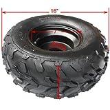 16x8-7 7'' Black Left Wheel Rim Tire Assembly for 110cc 125 cc ATV Go Kart 80mm Quad 4 Wheeler Dune Buggy Sandrail Roketa Taotao Jonway