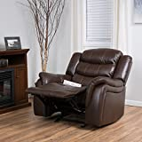 Merit Brown PU Leather Glider Recliner Club Chair