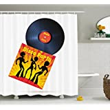 70s Party Decorations Shower Curtain by Ambesonne, Vinyl Record Cover with Disco Party Illustration Dancers Music, Fabric Bathroom Decor Set with Hooks, 75 Inches Long, Black Red Yellow