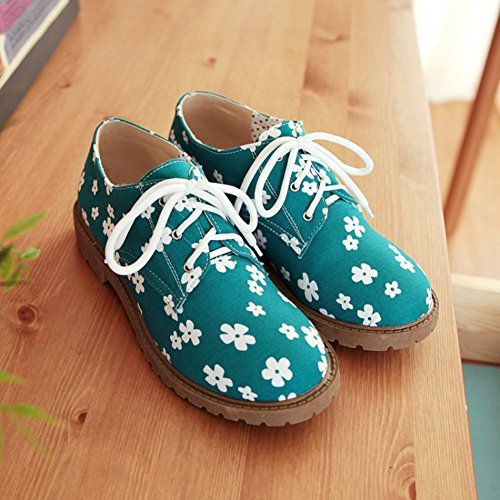 Sfnld Mujeres Sweet Round Toe Low Cut Floral Lace Up Low Chunky Mocasines De Tacón Zapatos Verde