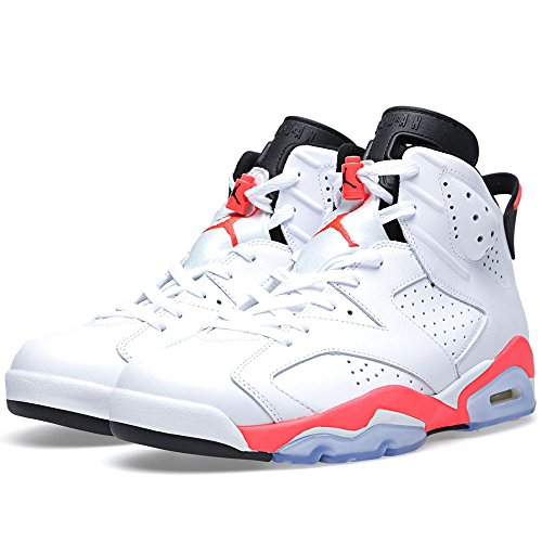 Air Jordan 6 Retro Men's Basketball Shoes White/Infrared-Black 384664-123 (8 D(M) US) (Jordan Retro 6 Shoes Size 8)