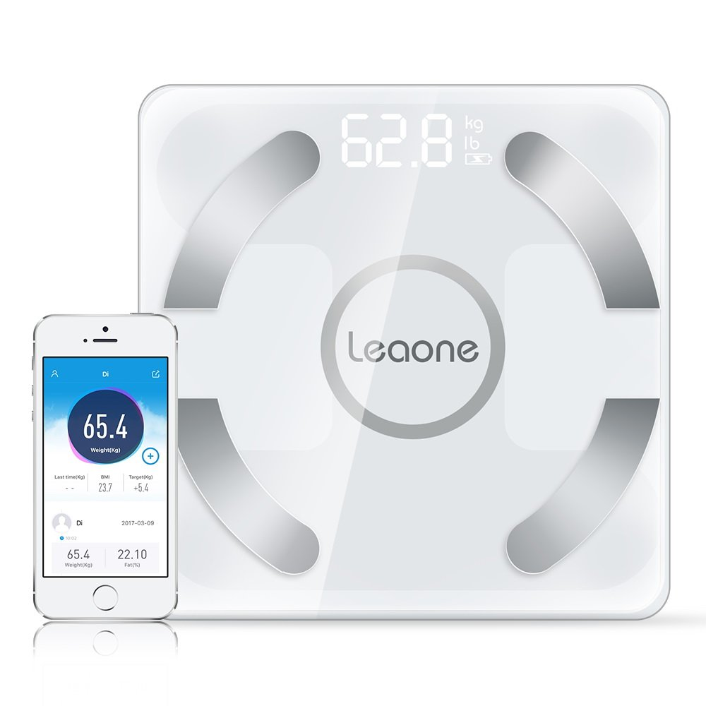 Leaone Bluetooth Body Fat Scale,FDA Approved Digital Bathroom Weight Scales Smart Rechargeable Support BMI/BMR/Water/Muscle/Mass Bone Fitness Composition Analyzer with iOS & Android App 400lbs-White