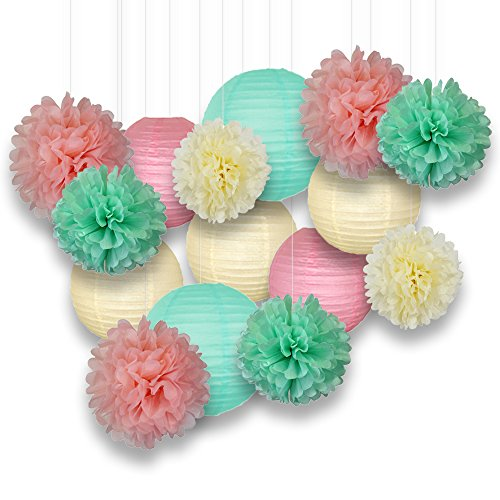 Just Artifacts Decorative Paper Party Pack (15pcs) Paper Lanterns and Pom Pom Balls - Ivory/Greens/Pinks - Paper Lanterns and Décor for Birthday Parties, Baby Showers, Weddings and Life Celebrations! ()