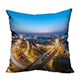 YouXianHome Super Soft Pillowcase North Gate Bridge Night Resists Wrinkles(Double-Sided Printing) 31.5x31.5 inch