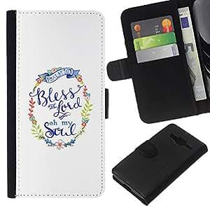 WINCASE Cuadro Funda Voltear Cuero Ranura Tarjetas TPU Carcasas Protectora Cover Case Para Samsung Galaxy Core Prime - que dios texto blanco minimalista