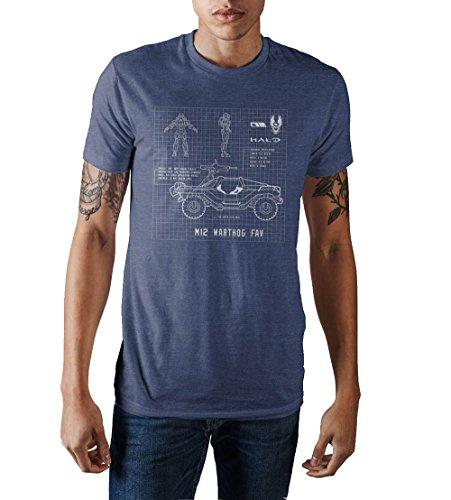 Halo Warthog Blueprint Design Men's Navy Blue Graphic Print T-Shirt Medium (Halo T Shirt Small)