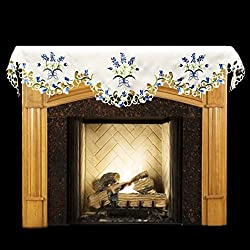 "19"" X 90"" Wide Fireplace Mantel Scarf with Blue and White Blue Bonnets and Cut Work from Linens, Art and Things"