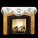 Linens, Art and Things Emboidered Fireplace Mantel Scarf with Blue and White Blue Bonnets and Cut Work 19'' x 90''