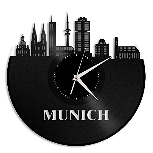 VinylShopUS - Munich Vinyl Wall Clock Cityscape Vintage Room - Clock Munich