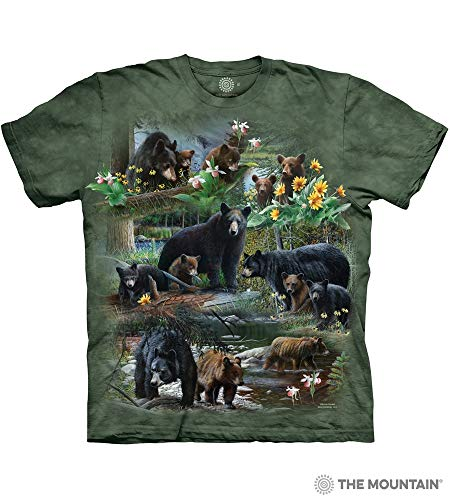 (The Mountain Bear Collage Adult T-Shirt, Green, 4XL)