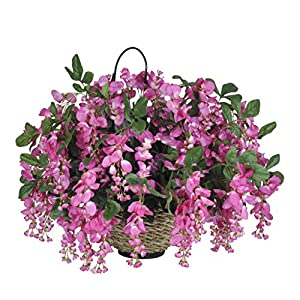 House of Silk Flowers Artificial Fuchsia Wisteria in Water Hyacinth Hanging Basket (Natural Water Hyacinth) 27