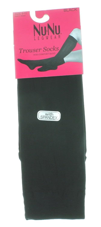 6 Pairs NuNu Legwear Solid Black Women's Trouser Knee High Socks Size 9-11
