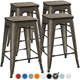 UrbanMod 24 Inch Bar Stools for Kitchen Counter Height, Indoor Outdoor Metal,Rustic Gunmetal, Wooden Seat