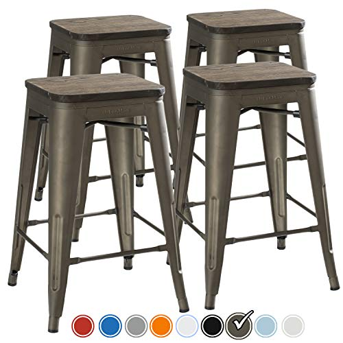 (UrbanMod 24 Inch Bar Stools for Kitchen Counter Height, Indoor Outdoor Metal,Rustic Gunmetal, Wooden)
