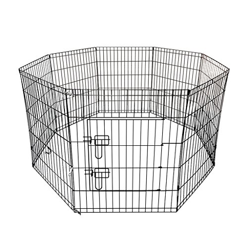 EleTab Exercise Pen for Small Dog and Pet, 8 High Panel DIY Portable Puppy Cage, Black Metal Wire Indoor Outdoor Folding Fence with Door, Height-30 inches