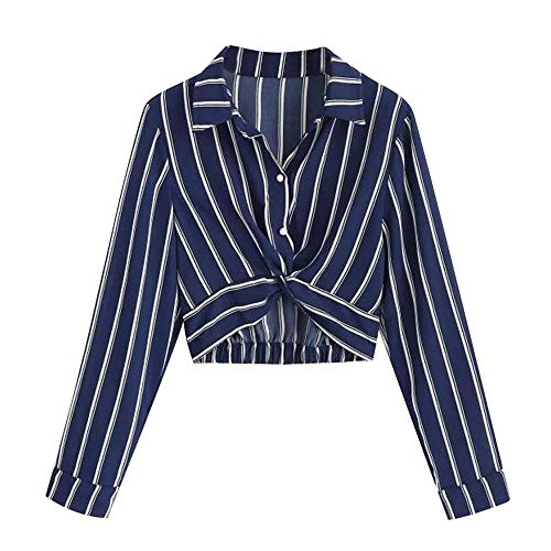 Turn SamMoSon Down Sleeve Women Button Crop Navy Blouse Activewear Stripe Collar Sexy Long Women's Shirt nYHTYwZq