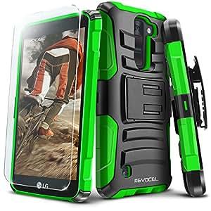 Evocel LG K8V (Verizon) [Generation Series] Rugged Holster [Kickstand & Belt Swivel Clip] + HD Screen Protector For LG K8V (VS500), Green (EVO-LGVS500-AB212)