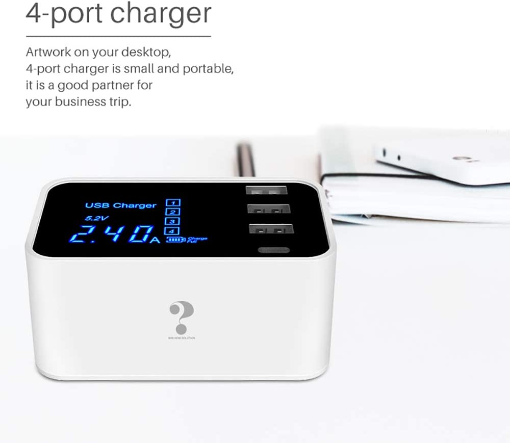 White iPad Pro//Air 2//Mini 3//Mini 4 USB Wall Charger Win How Portable Phone Charger Smart Phone Charger for Apple iPhone Xs//XS Max//XR//X//8//7//6//Plus Huawei Samsung S8//S9 and More with 4 Ports