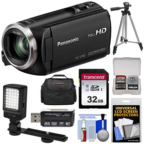 - Panasonic HC-V180 HD Video Camera Camcorder with 32GB Card + Case + Tripod + LED Light + Reader + Kit