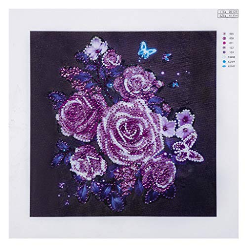 Lotus.Flower 5D DIY Diamond Painting, Special Shaped Partial Drill Cross Stitch Eyes Protection Painting Mosaic Crystal Rhinestone of Picture Serial Kit-Home Decor Craft Art (Rose)