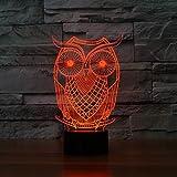 SUPERNIUDB 3D Owl Night Light Table Light 3D Lamp Table Lamp 3D LED USB 7 Color Change LED Table Lamp Xmas Toy Gift