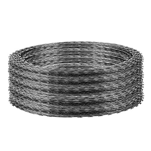 Popsport Razor Barbed Wire 18 Inch Ribbon Barbed Wire 5 Rolls 250 Feet Galvanized Barbed Wire Razor Wire Ribbon Barbed for Industrial and Home Use (Razor (Razor Barbed Wire)