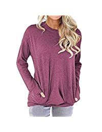 Csbks Women's Casual Long Sleeve Shirt Loose Soft Pockets Pullover Tunic Tops