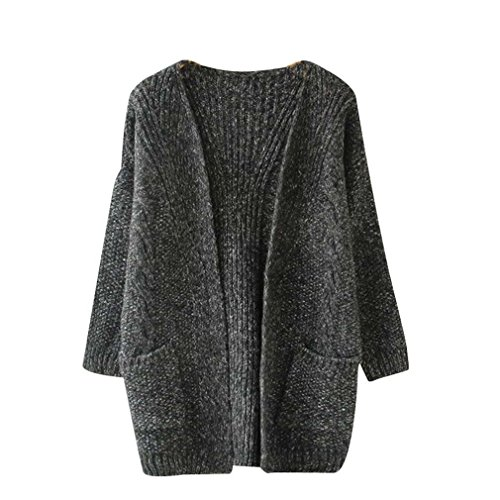 Forlisea Women's Long Sleeve Open Front Casual Cardigan Coat Sweater Outwear With Two Pockets (Twin Cotton Cashmere Set)