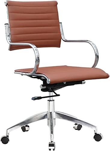 Fine Mod Imports Flees Mid Back Office Chair, Light Brown