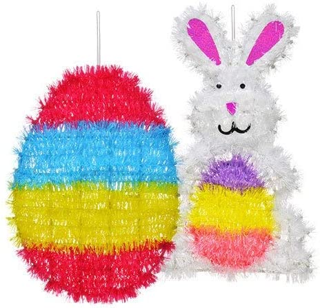 3D Tinsel Bunny Easter Decorations x 3