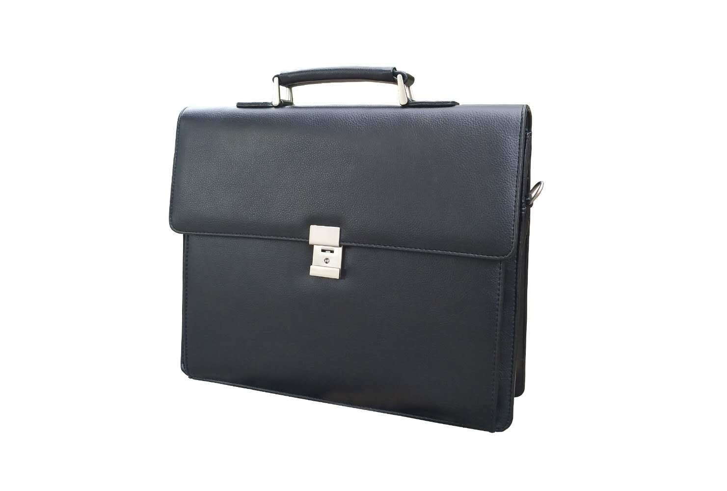 【ON SALE】Mens Leather Business Briefcases Expandable Lawyer Attache Case with Locks 15.6'' Laptop Messenger Bags for Men BLACK