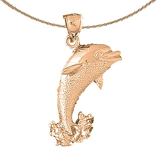 Rhodium-plated 925 Silver Dolphin Pendant with 16 Necklace Jewels Obsession Dolphin Necklace