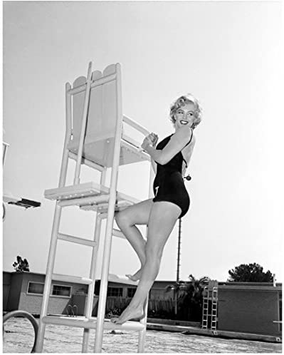 Marilyn Monroe 8x10 Photo Some Like It Hot The Seven Year Itch Gentlemen Prefer Blondes B W In One Piece Swimsuit Climbing Up Lifeguard Chair At Pool Kn At Amazon S Entertainment Collectibles Store