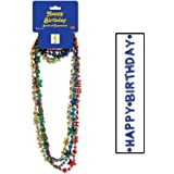 Beistle 57258-ASST 4-Pack Happy Birthday Beads-of-Expression Party Item, 36-Inch