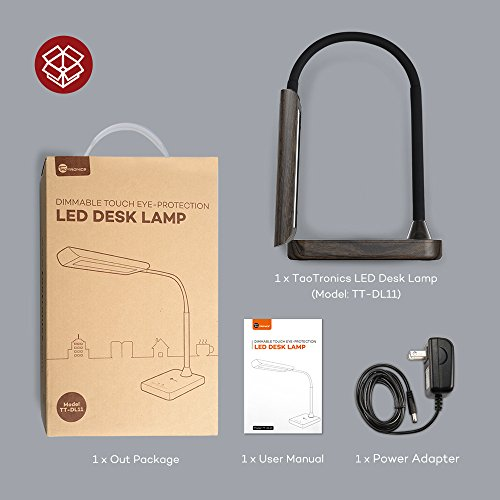 TaoTronics Desk Lamp, LED Table Light with 5 Lighting Modes & 7 Brightness Levels (Eye Caring, Flexible Gooseneck, Touch Controls, Memory Function) Wood Grain Design by TaoTronics (Image #8)