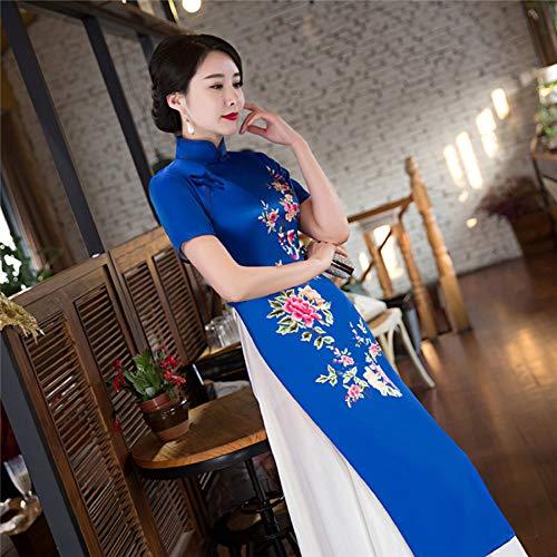- Black New Style Ao Dai Vintage Ethnic AoDai Short Sleeve Qipao Women Silk Long Cheongsams Dress for Party Fashion